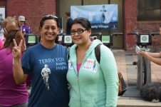 Monica Sigil and daughter Andrea take part in the Terry Fox Run at Liberty Village in Toronto. (Zaid Noorsumar photo)